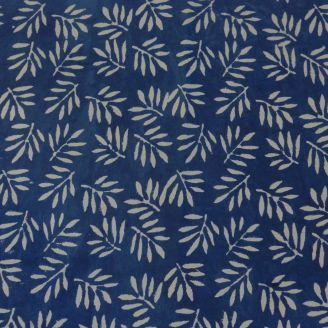 Voile de coton indien - palmes fond indigo