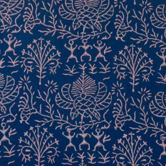 Voile de coton indien - tribu rose fond indigo