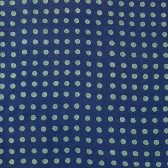 Voile de coton indien - pois menthe à l'eau fond indigo