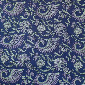 Voile de coton indien - motif cachemire mauve et vert fond indigo