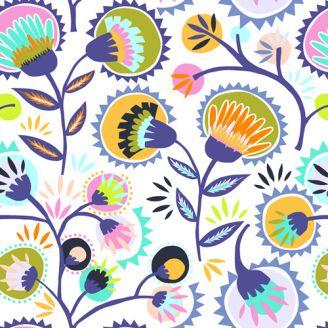 Tissu patchwork fleurs folk fond blanc - Oh, Meoh !