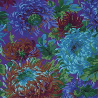 Tissu Philip Jacobs - Grandes fleurs Shaggy fond violet