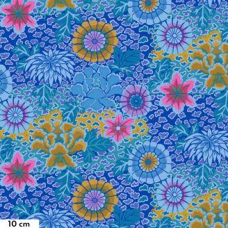 Tissu patchwork Kaffe Fassett grandes fleurs Dream fond bleu GP148