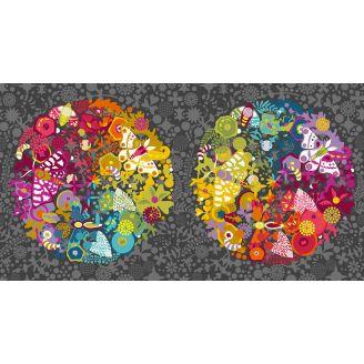 Panneau de tissu patchwork grande sphères gris charbon - Art Theory d'Alison Glass