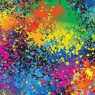 Tissu patchwork éclaboussures néon - Cats