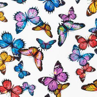 Tissu patchwork papillons multicolores fond blanc - Fantastic Forest