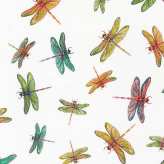 Tissu patchwork libellules blanches - Fantastic Forest