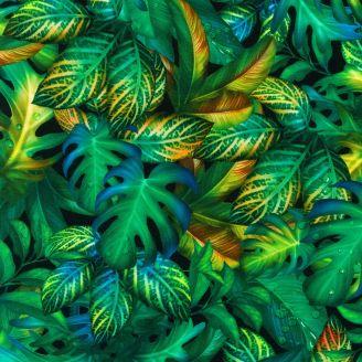 Tissu patchwork feuilles tropicales - Fantastic Forest