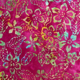 Tissu batik fleur de frangipane fond fuchsia