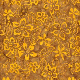 Tissu batik fleur de frangipane jaune fond tabac