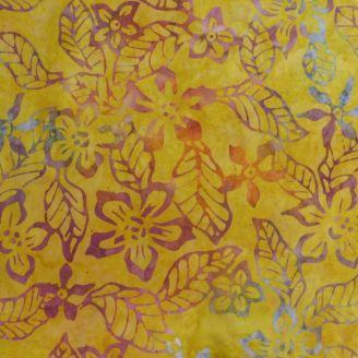 Tissu batik fleur de frangipane fuchsia fond jaune