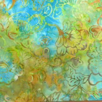 Tissu batik feuille et fleur fond vert bleu