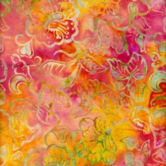 Tissu batik feuille et fleur fond fuchsia jaune
