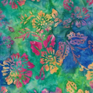 Tissu batik fleur multicolore fond turquoise