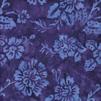 Tissu batik fleur ton sur ton violet