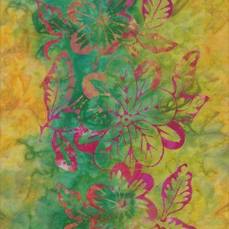 Tissu batik grosses fleurs rose et jaune mélangé fond vert pomme