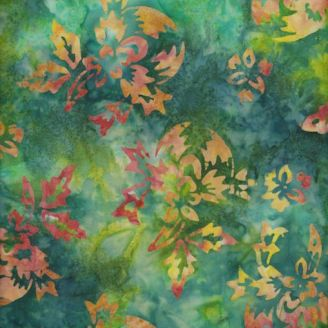 Tissu batik fleurs orangées fond vert tropical