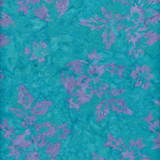 Tissu batik fleurs mauves fond turquoise