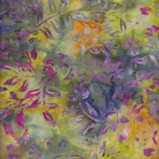 Tissu batik fleurs violines fond jaune kaki