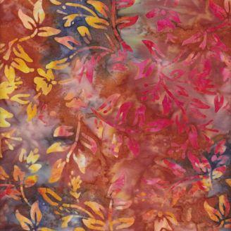 Tissu batik feuilles fond orange bleu