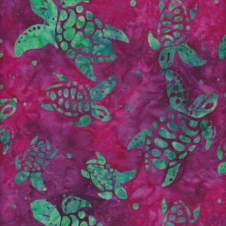 Tissu batik tortues de mer vert lagon fond fuchsia