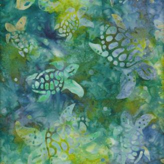 Tissu batik tortues de mer vert pomme et bleu glacier