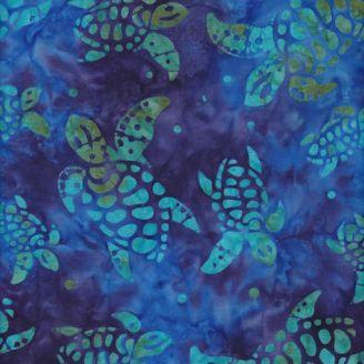 Tissu batik tortues de mer bleues fond améthyste et bleu caraïbes