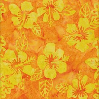 Tissu batik fleurs hawaïennes jaunes citron fond orange papaye