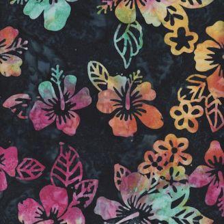 Tissu batik fleurs hawaïennes multicolores fond nuit