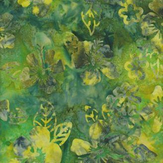 Tissu batik fleurs hawaïennes vertes