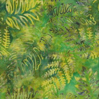 Tissu batik fougères fond vert jaune