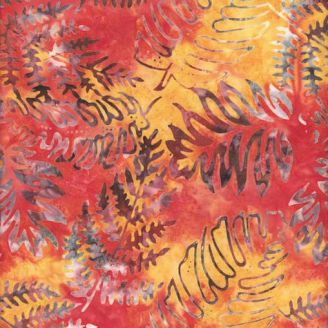 Tissu batik fougères fond orange jaune