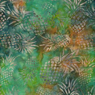 Tissu batik ananas fond vert ocre