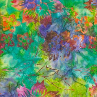 Tissu batik fleurs tropicales oranges fond vert