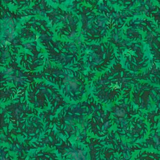 Tissu batik feuilles d'élodée vertes