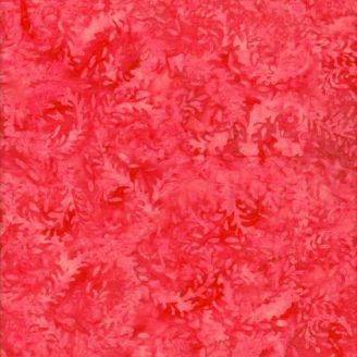 Tissu batik feuilles d'élodée rouges