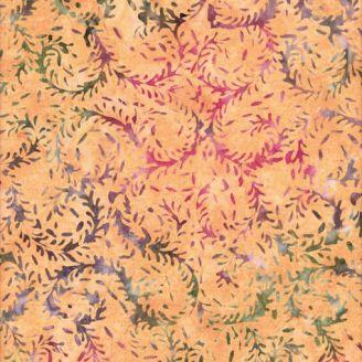 Tissu batik feuilles d'élodée vert bordeaux fond orange clair