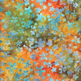 Tissu batik fleurettes bleues fond orange vert