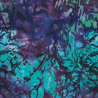 Tissu batik feuilles bleues fond violet