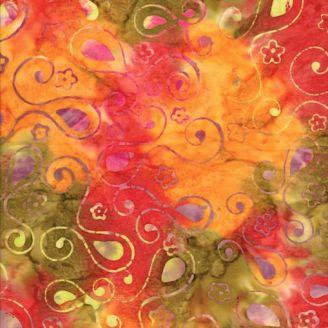 Tissu batik volutes florales fond vert rouge