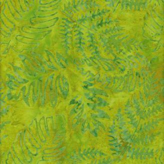 Tissu batik fougères fond vert citron