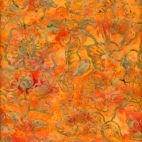 Tissu batik feuille et fleur fond orange sanguine