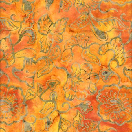 Tissu batik feuille et fleur fond orange ambre