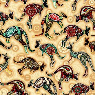 Tissu patchwork aborigène kangourous fond crème - Gondwana