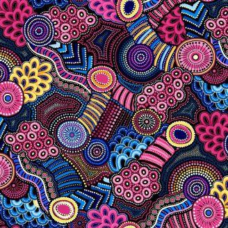 Tissu patchwork paysage aborigène bleu rose - Gondwana