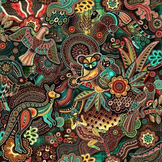 Tissu patchwork aborigène animaux australiens marron - Gondwana