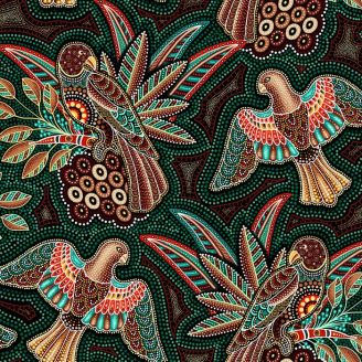 Tissu patchwork aborigène rapaces fond vert - Gondwana