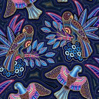 Tissu patchwork aborigène rapaces fond bleu - Gondwana