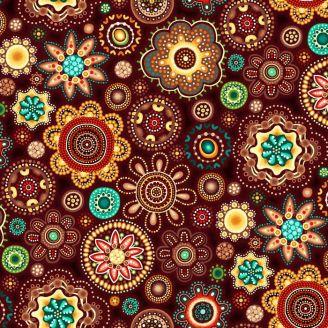 Tissu patchwork aborigène fleurs rosaces marron - Gondwana