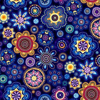 Tissu patchwork aborigène fleurs rosaces bleu - Gondwana